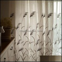 Curtain Drapes Deco El Supplies & Gardentop Embroidery Reed Tle Living Room Kitchen Window Curtains For Bedroom American Pastoral Style Text