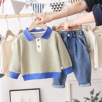 Clothing Sets HYLKIDHUOSE Baby Boys Girls 2021 Spring Stripe T Shirt Jeans Toddler Infant Casual Clothes Children Kids Costume