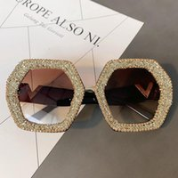 Sunglasses Western Style Exaggerated Glasses With Diamond For Women Fashion Model