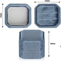 Velvet Ring Box Antique Octagon Double Display Holder With Lid For Jewelry Boxes Organizer Storage Case Wedding Ceremony Pouches SEA DHC7506