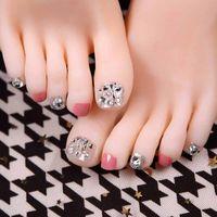 Falska naglar 24st / set toe artificiell tips Silver Rhinestone Pink Beauty Product Full Cover Färdig Feet Patch Tool