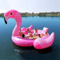 6-7 Kişi Şişme Dev Pembe Flamingo Havuz Şamandıra Büyük Göl Şamandıra Şişme Unicorn Tavuskuşu Şamandıra Adası Su Oyuncakları Yüzmek Havuzu Eğlenceli Raft 496