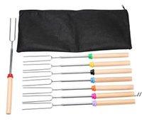 8шт / комплект U Тип BBQ Forks Traily Sticks-Set Camsfier из нержавеющей стали Деревянная ручка телескопическая барбекю жареный вилкой DWE7532