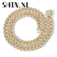 15mm Wide Cuban Chain Necklace Iced Out Zircon Two Tone Rose Gold Plated Men's Hip Hop Jewelry Gift