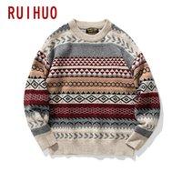 Ruihuo вязаная полосатая винтажная одежда Pullover повседневная мужская свитер вязаный M-2XL по прибытии