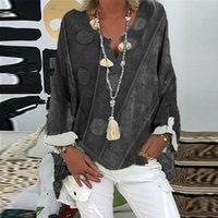 Women's Blouses & Shirts Plus Size Tops Women Dot Blouse Vintage Long Sleeve Print Loose V-neck Shirt Top Retro Causal Blusas 2021
