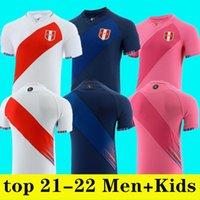 Camisetas 2021 2022 Perú Futbol Formaları 21 22 Ev Beyaz Uzaktan Kırmızı Guerrero Farfan Cueva Lapadula Lores Peru Jersey Erkekler Futbol Gömlek Üniformaları