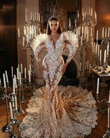 Sexy Pearls Lace Applique Wedding Dresses Bridal Gowns 2021 Arabic Beaded Long Sleeves Custom Made robe de mariee