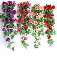 Fiori decorativi Corone 2021 Fiore artificiale Glicine Appeso cestino falso Matrimonio decorazione della casa Bouquet Purple Rose Faux