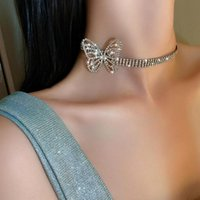 Chokers Fashion Exaggerates Individual Character To Set Drill Butterfly Necklace Choker Of Short Money Web Celebrity Temperam