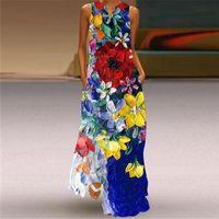 Plus Size Vintage Print 2021 V Neck Casual Long Dresses Summer Woman Sleeveless Girl Beach Maxi Dress Women