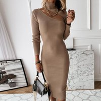 Casual Dresses Autumn Slim Turtleneck Long Knitted Dress Women Winter Sleeve Bodycon Sweater Sexy Hollow Out Sheath Party Vestidos