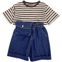 Clothing Sets Girl Suit Outfits Baby Boys Clothes Children Summer Cotton Short Sleeve Striped T-shirts Jeans Shorts Hats 3Pcs 1-6Y B5506