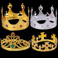 코스프레 킹 퀸 크라운 파티 모자 타이어 프린스 공주 크라운 생일 파티 모자 골드 실버 opp 가방 8 색 2 색 hwe9270