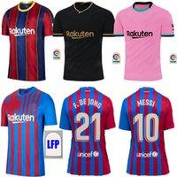 2021 Barca Fussball Jerseys Startseite Messi Barcelona 21 22 Ansu Fati Griezmann Braithwaite Pedri de Jong Coutinho Football Hemd Männer Kinder Kit Uniform