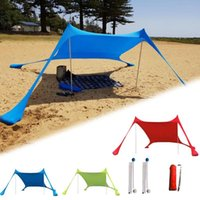 Tents And Shelters Portable Sun Shade Tent With Sandbag UV Lycra Large Family Canopy For Outdoor Fishing Camping Beach Sunshade Awning Set