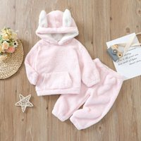 Clothing Sets Winter Baby Girls Warm Clothes Ear Hooded Coat Plush Two-piece Set Pink Long Sleeve Pullover And Trousers