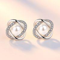 925 plata esterlina nueva mujer joyería de moda de alta calidad cristal circón perla flor retro pendientes de venta caliente 772 Z2