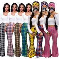 Women Fashion Clothing Classic Plaid Print Palazzo Flare Pants Casual Flared Summer Tight The Listing