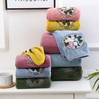 Towel Floral Embroidered Hand Hair Face Bath Microfiber Soft Absorbent Coral Fleece Home Towels Bathroom Wedding Decoration