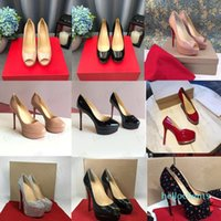 2020 Classic Red Bottom High Saltos Plataforma Sapato Bombas Nude / Preto Patente Leather Peep-Toe Mulheres Vestido Sandálias De Casamento Sapatos Tamanho 34 * 45