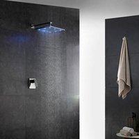 판매 8/10/12 인치 스퀘어 하이드로 전원 RGB LED Rainfall 샤워 헤드 세트 욕실 엘 사용 광택 세트