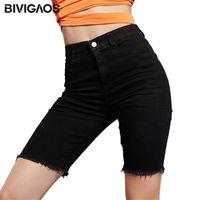 Bivigaos Negro Elástico Jean Shorts Mujeres Verano Verano Cintura Alta Cintura Romada Agujero Corto Jeans Casual Denim Biker 210714