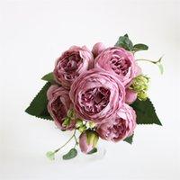 5 teste di seta artificiale rosa fiore mazzo di piante bouquet falso casa decorazione di nozze giardino floreale camera da letto ufficio festa 610 S2