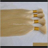 Weaves Top Quality Nenhuma trama 100gram Lot onda straight cabelo humano a granel para trança comprar 3lot obter 1pcs cor loira 6gcai jyvzi