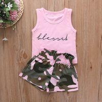 Kids Clothing Sets Girls Outfits Baby Clothes Children Wear Summer Childrens Suits Letter Vest T-Shirt Shorts 2Pcs B7495