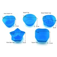7cm Muffin Cup Round Love Square Rose Flower Silicone Cake Cup Baking Mould Pudding Jelly Puff Mould