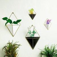 OOTDTY Modern Geometric Hanging Flower Pots Holder Garden Succulent Metal Plants Hanger Home Wall Decorations