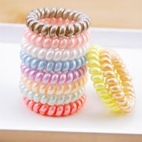New Women Scrunchy Girl Hair Coil Rubber Hair Bands Ties Rope Ring Ponytail Holders Telephone Wire Cord Gum Hair Tie Bracelet FY4951