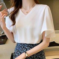 Women's Blouses & Shirts White Chiffon Blouse Shirt Women Loose Summer Blusas Mujer De Moda Casual Streetwear V-Neck Solid Tops Femme Q4413