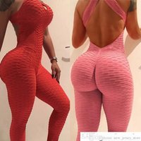 2020 Seksi Kadınlar Ladiess Eşofman Yoga Pantolon Yüksek Bel Spor Oyun Takım Elbise Push Up İnce Spor Backless Üst Koşu Spor Yumuşak Tulum