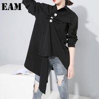 [EAM] Kadınlar Beyaz Inci Dekorasyon Büyük Boy Bluz Yaka Uzun Kollu Gevşek Fit Gömlek Moda Gelgit İlkbahar Sonbahar 2021 1dD5121 kadın Bluzlar