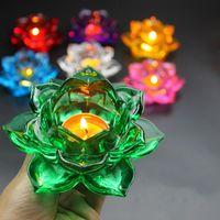 7 colores Budista Mantequilla Lámpara de aceite Vidrio Lotus Vela Tenedores Bodas Party Table Spieces Candelabros Vidrio Vela Soporte Soporte de té