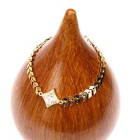 Charm Bracelets EYIKA Creative Design Sparkling Rhombus Cubic Zirconia Handmade Fishbone Chain Bracelet For Women Gold Statement Jewelry