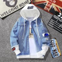Men Denim Jacket Streetwear Hip Hop Hooded Jean Jackets Male Casual Loose Outerwear Spring Autumn Fashion Slim Fit Coat Chaqueta Hombre