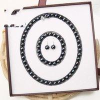 جديد غرامة حقيقية بيرل مجوهرات مجموعة الطبيعية 8 ملليمتر الأسود اللؤلؤ قلادة سوار القرط مجموعة 258 W2