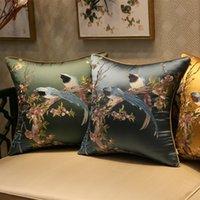 Capa de Almofada Capa Decorativa Caso Moderno Chinês Tradicional Pássaros Flora Luxo Bordado Coussin Sofá Home Decor