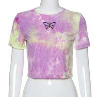 Crop Top Women O-neck Tie-dye Butterfly Sleeve Short Tops Shirt Streetwear Blouse