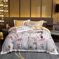 Flores de lujo Tencel Conjunto de ropa de cama Satén Edredón Casa de cama Sábana Sábana Partitura Casas de almohadas Casa Textil Rey Reina Tamaño 4pcs Conjuntos