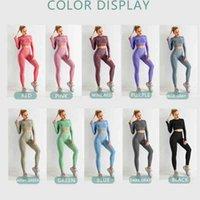 2/3 / 5 adet Yüksek Bel Spor Takım Elbise Lulu Tayt Spor Salonu Fitness Kadın Yoga Setleri Dikişsiz Egzersiz Giyim Giyim Uzun Kollu Mahsul Üst Push-Up