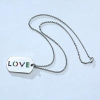 Collier d'amour en acier inoxydable en acier inoxydable, étiquette de fierté gay, colliers de pendentif rayé arc-en-ciel pour hommes