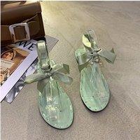 Жемчужные сандалии женские летние корейский феи стиль заклепки пляжные туфли плоский галстук бабочка пальцами романские случайные тапочки