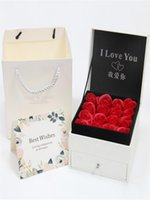Decorative Flowers & Wreaths INS Creativity Rose Flower Gift Box Set Bag+Box Double Layer Fake Earring Ring Pendant Necklace Wedding