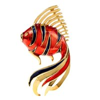 Pins, Brooches CINDY XIANG Enamel Gold Fish Brooch Plated Fashion Animal Pin Coat Dress Accessories 2 Colors Available High Quality