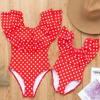 Mother-daughter One-piece Swimsuit Summer Fashion Leopard Off-shoulder Ruffles Bikini Family Matching Swimwear Kids Parent