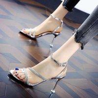 드레스 신발 Weibate 실버 블링 크리스탈 섹시한 레이디 샌들 오픈 토우 라인 석 벨트 크로스 하이힐 결혼식 구두 크기 35-40